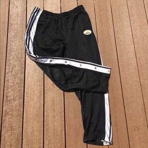 Vintage Adidas full snap button sweat pants black